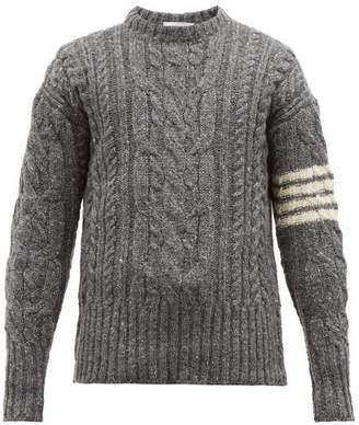 Thom Browne 4 Bar Stripe Cable Knit Wool Blend Sweater - Mens - Grey
