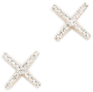 Adina 14k Gold Pave X Post Earrings