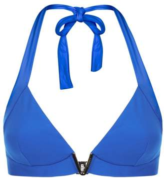 La Perla Aquamarine Electric Blue Padded Triangle Bikini Top With V Hardware