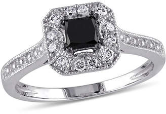 Black Diamond MODERN BRIDE Midnight 1/2 CT. T.W. White and Color-Enhanced 10K White Gold Engagement Ring