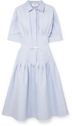 Thom Browne Pintucked Cotton Shirt Dress - Blue