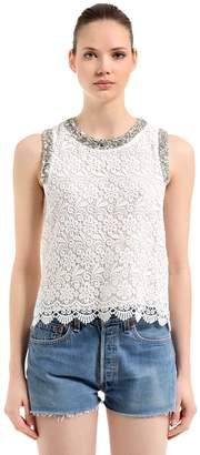 Embellished Cotton & Lace Top