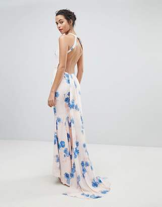 Jarlo Open Back Maxi Dress With Train Detail In Summer Floral Print