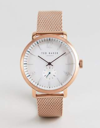 Ted Baker Te50015010 Oliver Mesh Watch In Rose Gold 43mm
