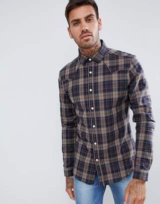 Asos DESIGN stretch slim check western shirt in brown
