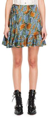Chloé Python-Print Tie-Side Jersey Ruffle Skirt