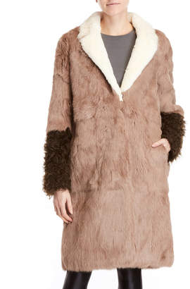 ADD Real Rabbit Fur Color Block Coat
