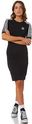 adidas New Women's 3 Stripes Dress Crew Neck Cotton Elastane Black