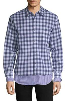 Solid Homme Layered Plaid& Striped Shirt