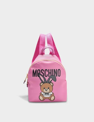 Moschino Small Teddy Playboy Backpack in Pink Saffiano