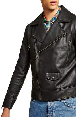 Topman Classic Fit Leather Biker Jacket