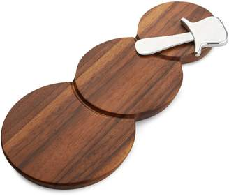 Nambe Two-Piece Snowman Cheese Board and Stainless Steel Spreader Set