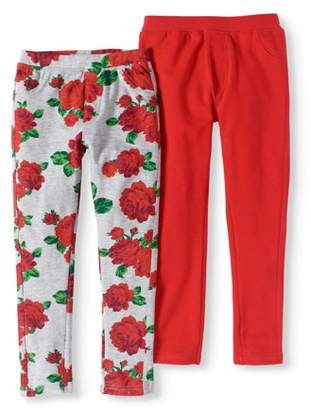 Pink Velvet Little Girls' 4-6X Printed & Solid French Terry Jeggings 2-Pack Set