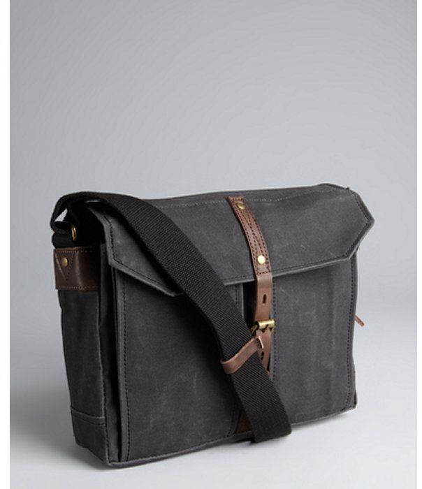 Property Of coal grey waxed canvas 'Hector' day bag