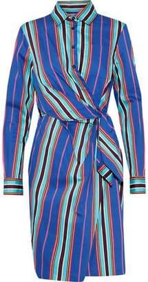 Moschino Wrap-Effect Striped Cotton-Blend Twill Shirt Dress