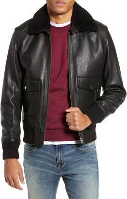 a24e09ad535 The Kooples Teddy Leather Jacket with Removable Genuine Lamb Shearling Trim
