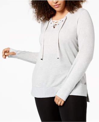 Macy's Ideology Plus Size Lace-Up Sweatshirt, Created for