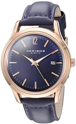 Akribos XXIV Women 's Quartz rose-tone Case With rose-toneアクセントパープルSunray Dial onパープルグローブスタイル本革ストラップ腕時計ak921pu