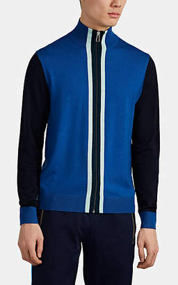 Paul Smith Men's Striped Fine-Gauge Merino Wool Zip-Front Cardigan - Blue