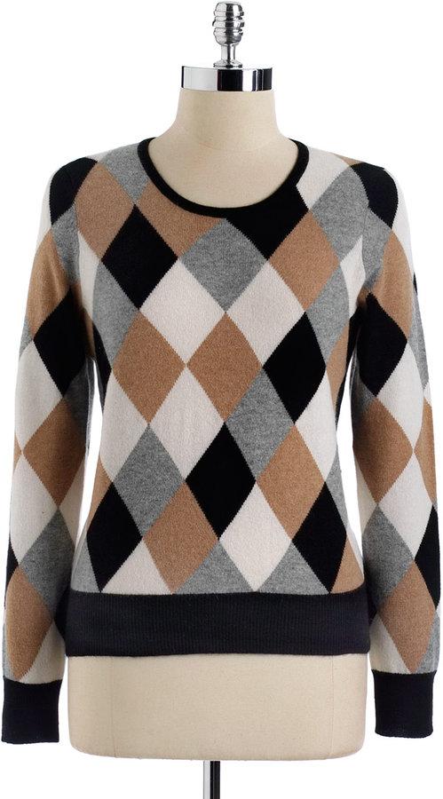 LORD & TAYLOR Diamond Intarsia Cashmere Pullover