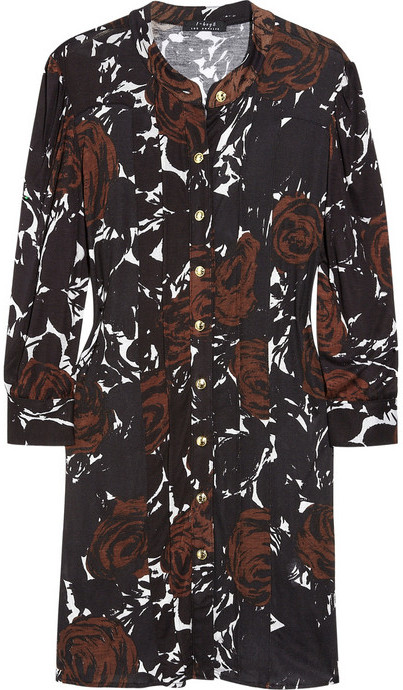 T-Bags Rose-print jersey shirt dress