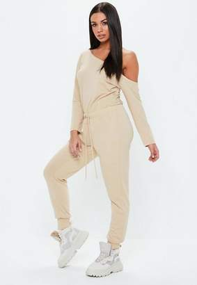 Missguided Tall Sand Loopback Off The Shoulder Romper