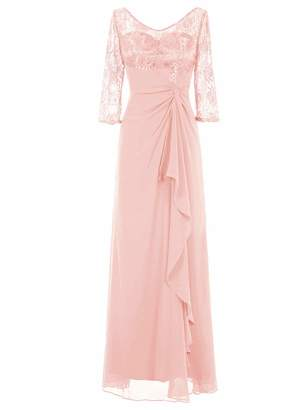Uther Mother of Bride Evening Party Dress Ladies Long Bridesmaid Dress Sleeves