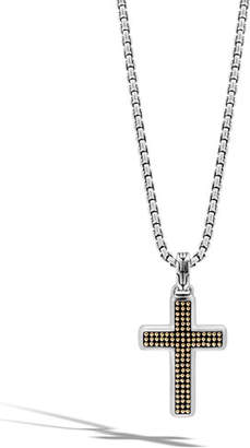 John Hardy Men's Classic Chain Silver & Gold Necklace with Cross Pendant, 26""