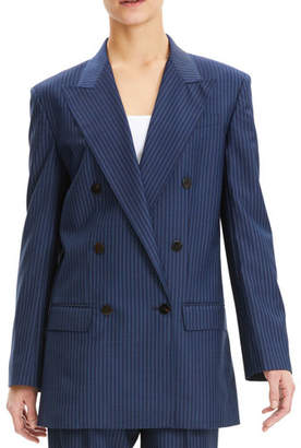 Theory Striped Double-Breasted Wool Blazer