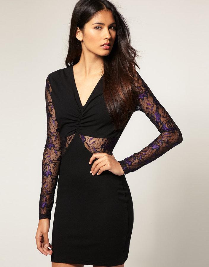 Paprika Dress With Lace Cut-Out Detail