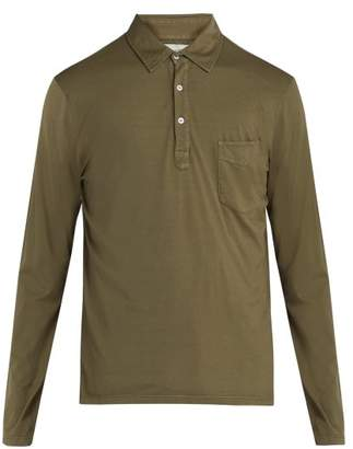 Officine Generale Long Sleeved Cotton Polo Shirt - Mens - Khaki
