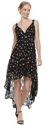 Disney Princess Juniors' Floral High-Low Lace Party Dress