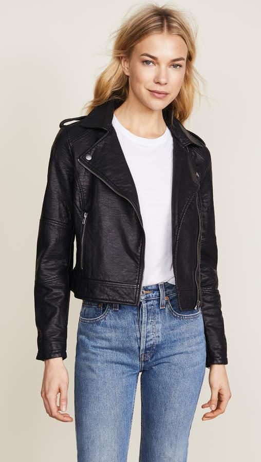 Burwell Vegan Leather Moto Jacket