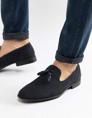 Asos Design DESIGN tassel loafers in navy faux suede