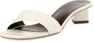The Row Chocolate Capretto Leather Slide Sandals
