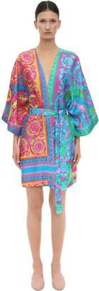 Versace Printed Silk Satin Night Gown