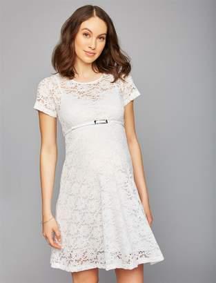 Pietro Brunelli Lace Belted Maternity Dress