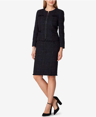 Tahari ASL Petite Collarless Metallic-Tweed Skirt Suit