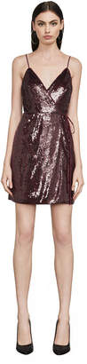 BCBGMAXAZRIA Steph Sequin Wrap Dress
