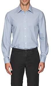 Luciano Barbera Men's Checked Cotton Poplin Shirt - Lt. Blue