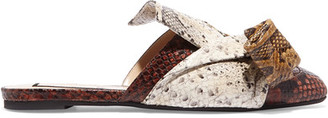 No. 21 - Knotted Snake-effect Leather Slippers - Snake print $690 thestylecure.com
