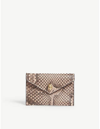 Alexander McQueen Nude Pink and Brown Skull Envelope Python Card Holder