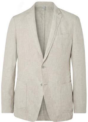 HUGO BOSS Beige Hanry Slim-fit Unstructured Linen Suit Jacket - Beige