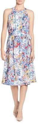 T Tahari Sleeveless Floral-Print Dress