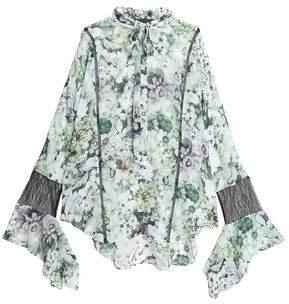 Nicholas Pussy-Bow Lace-Paneled Floral-Print Silk-Chiffon Blouse
