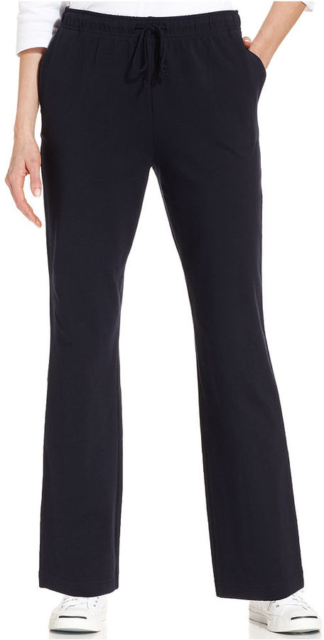 Karen Scott Straight-Leg Pull-On Ankle-Length Pants