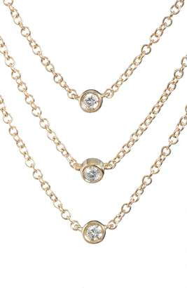 Ef Collection Diamond Triple Bezel Layered Necklace