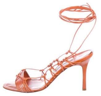 Manolo Blahnik Leather Mid-Heel Sandals Orange Leather Mid-Heel Sandals