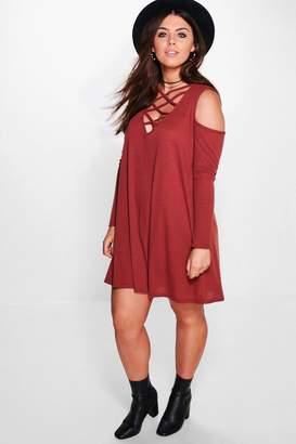 boohoo Plus Ribbed Open Shoulder Swing Dress