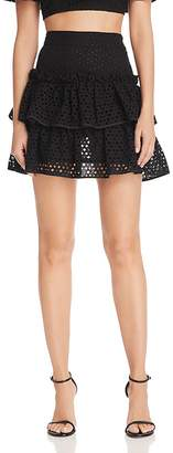 Milly Tiered Lace Mini Skirt